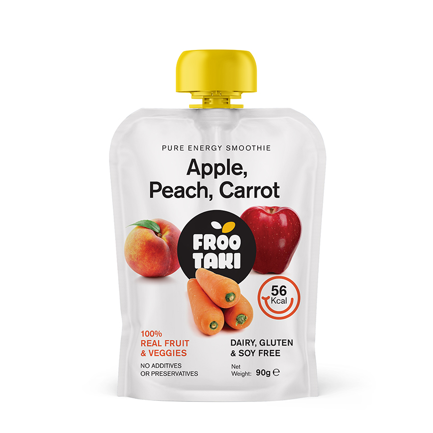 Apple/Peach/Carrot Stand-Up Smoothie Pouch 90gr