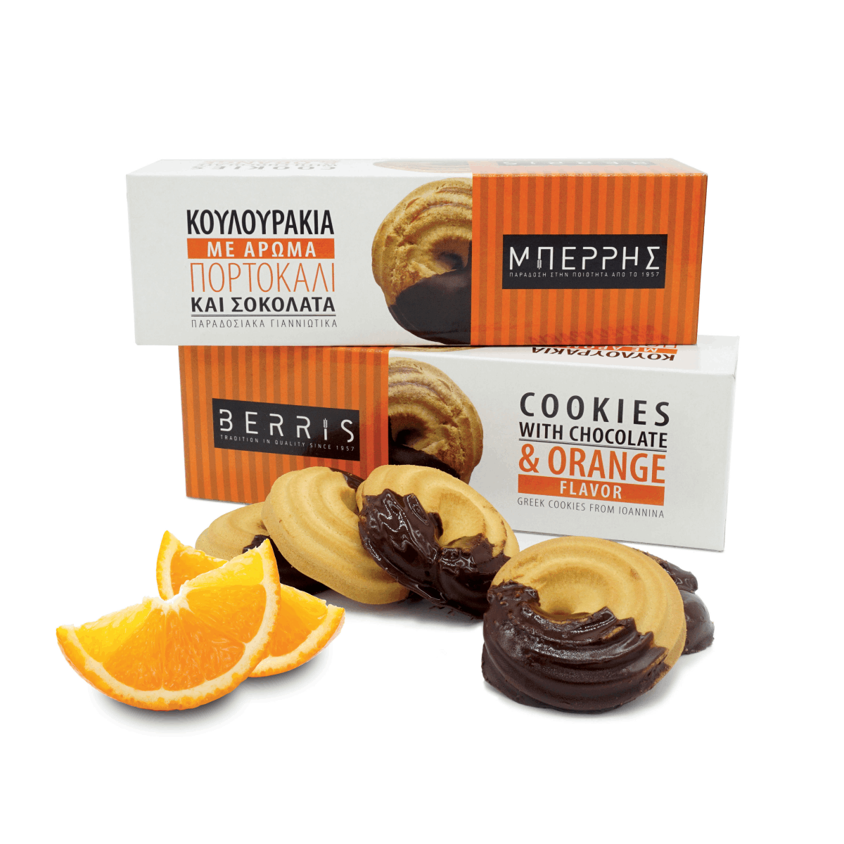 Orange Flavor Cookies With Chocolate 180gr